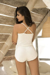 Cheeky Bottom Sleep Romper in Ivory