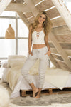Ivory & Grey Cute Two Piece Lounge Wear Set