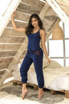 Navy Blue Two Piece Pajama Pant Set