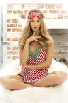Candy Striped Christmas Sleep Dress with Eye Mask