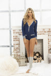 Blue Seductive Long Sleeve Sleep Romper