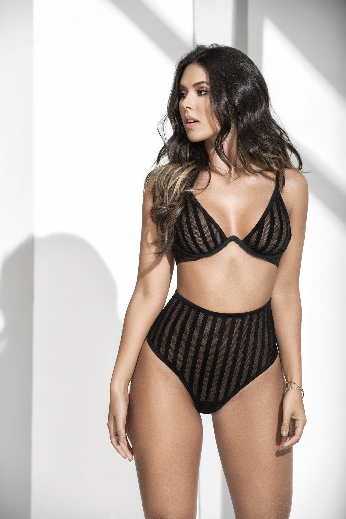Alluring Stripped Sheer Mesh Bra Set