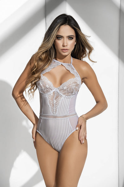 Elegant Grey Sheer Lace Teddy Lingerie