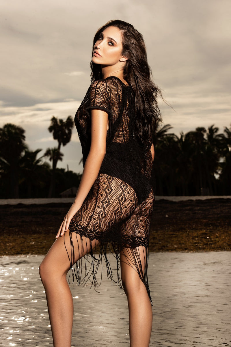 Seductive Black Netting Beach Cover Up