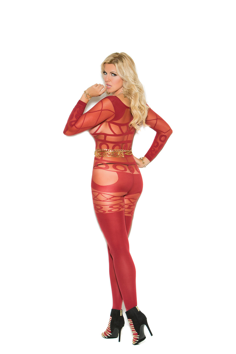 Red Plus Size Crotchless Bodystocking