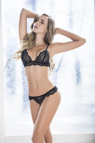 Black Lace Triangle Bra Set