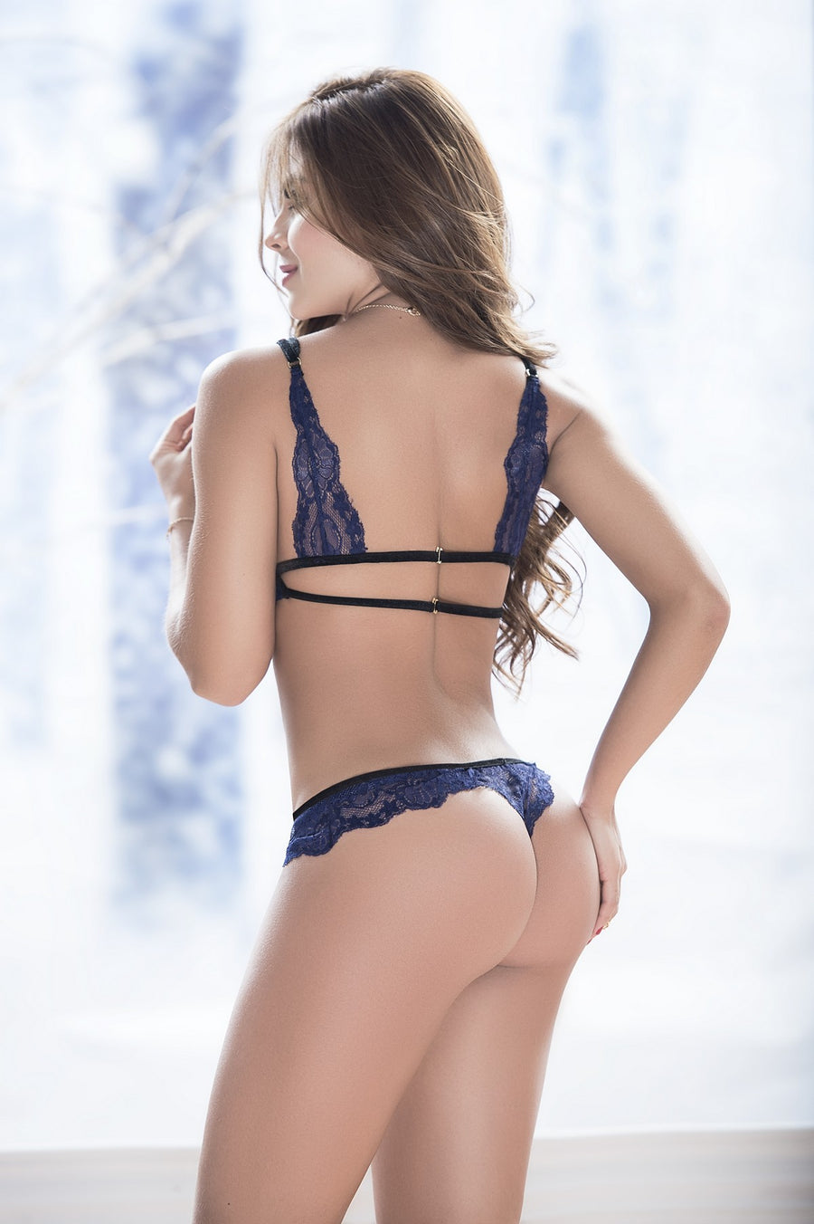 Blue Lace Triangle Bra Set