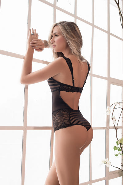 Black Striped Lace Teddy Lingerie