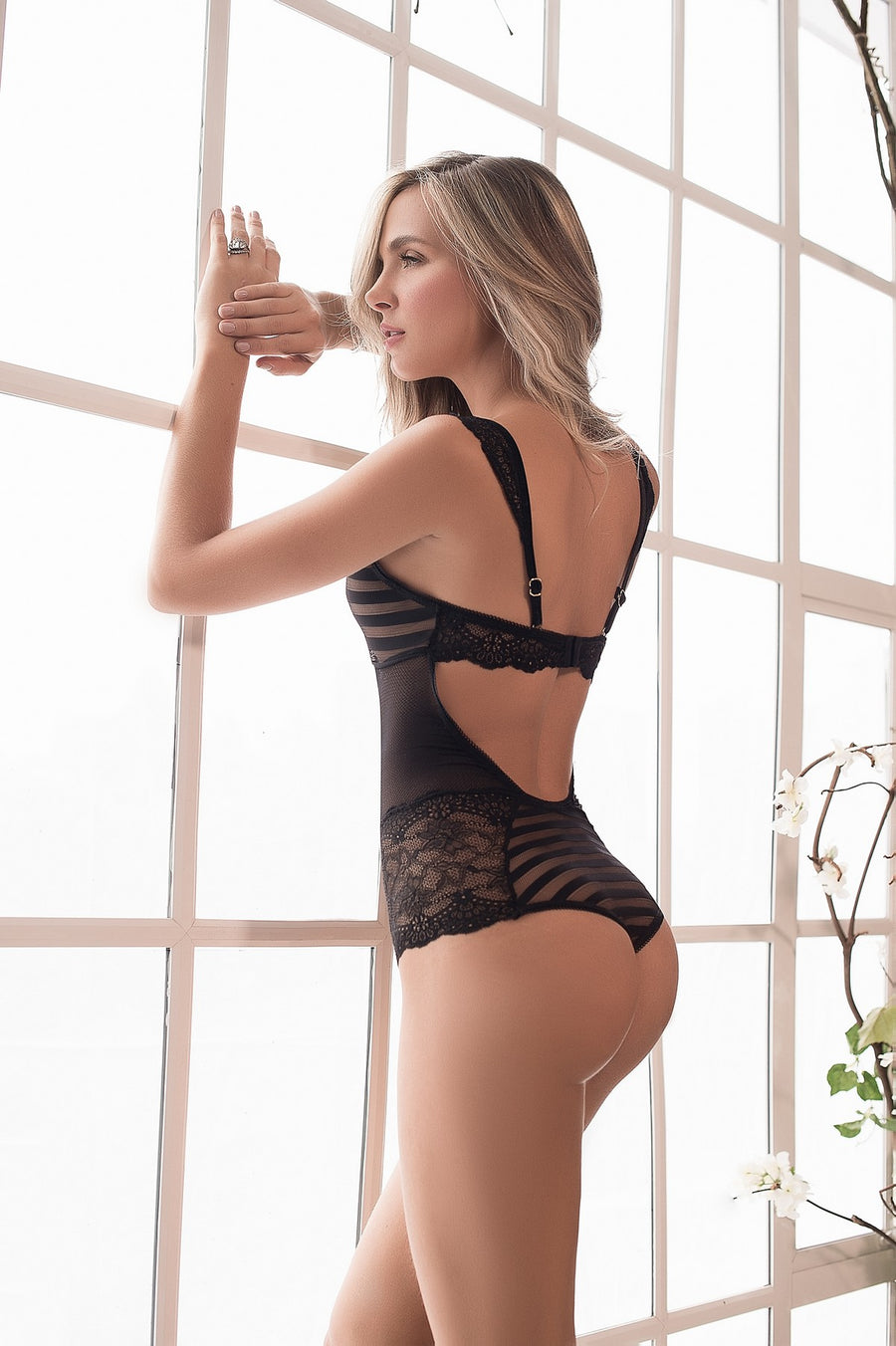 Striped Lace Teddy Lingerie in Black