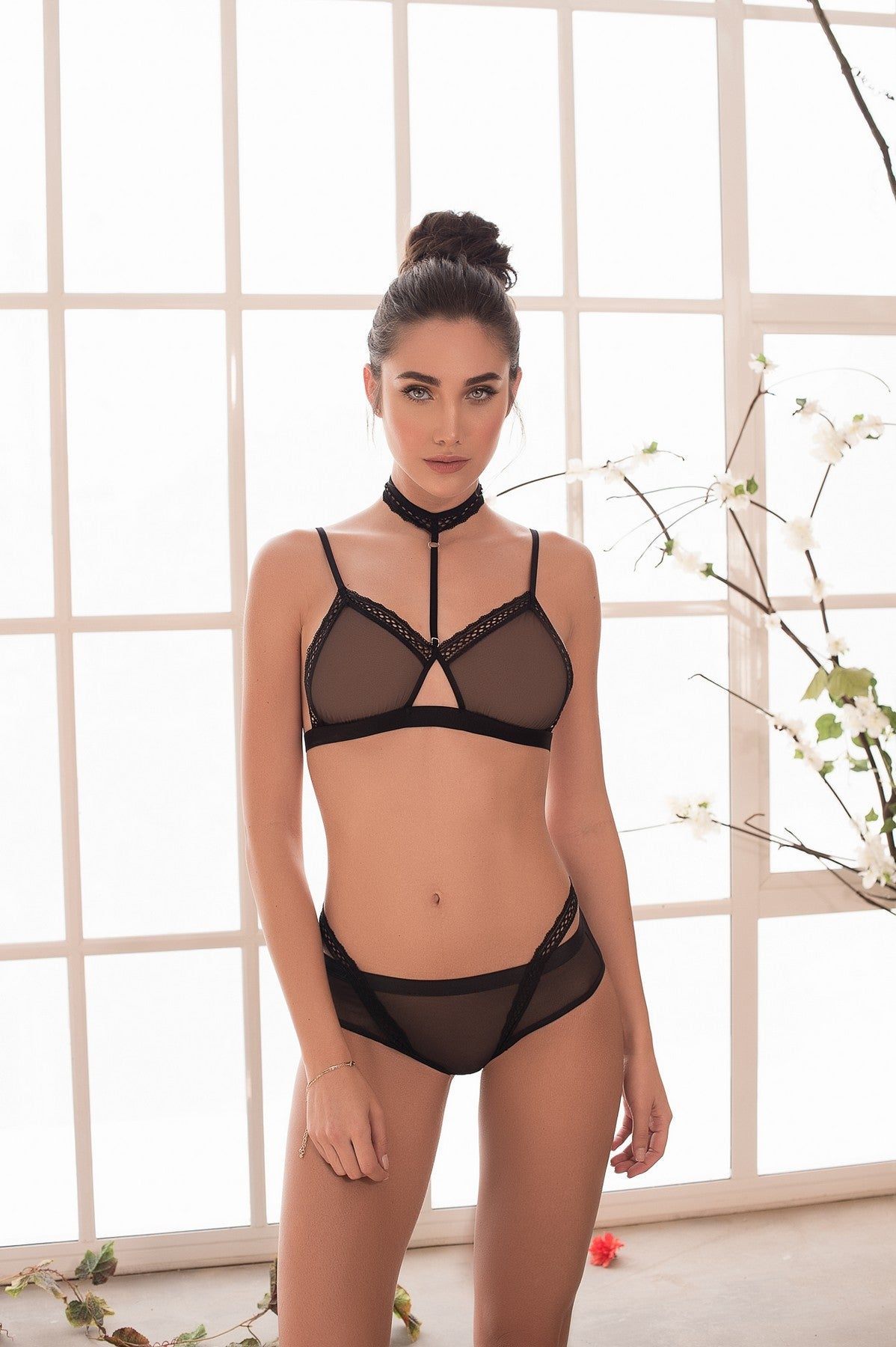 Black Choker See Through Bra Set