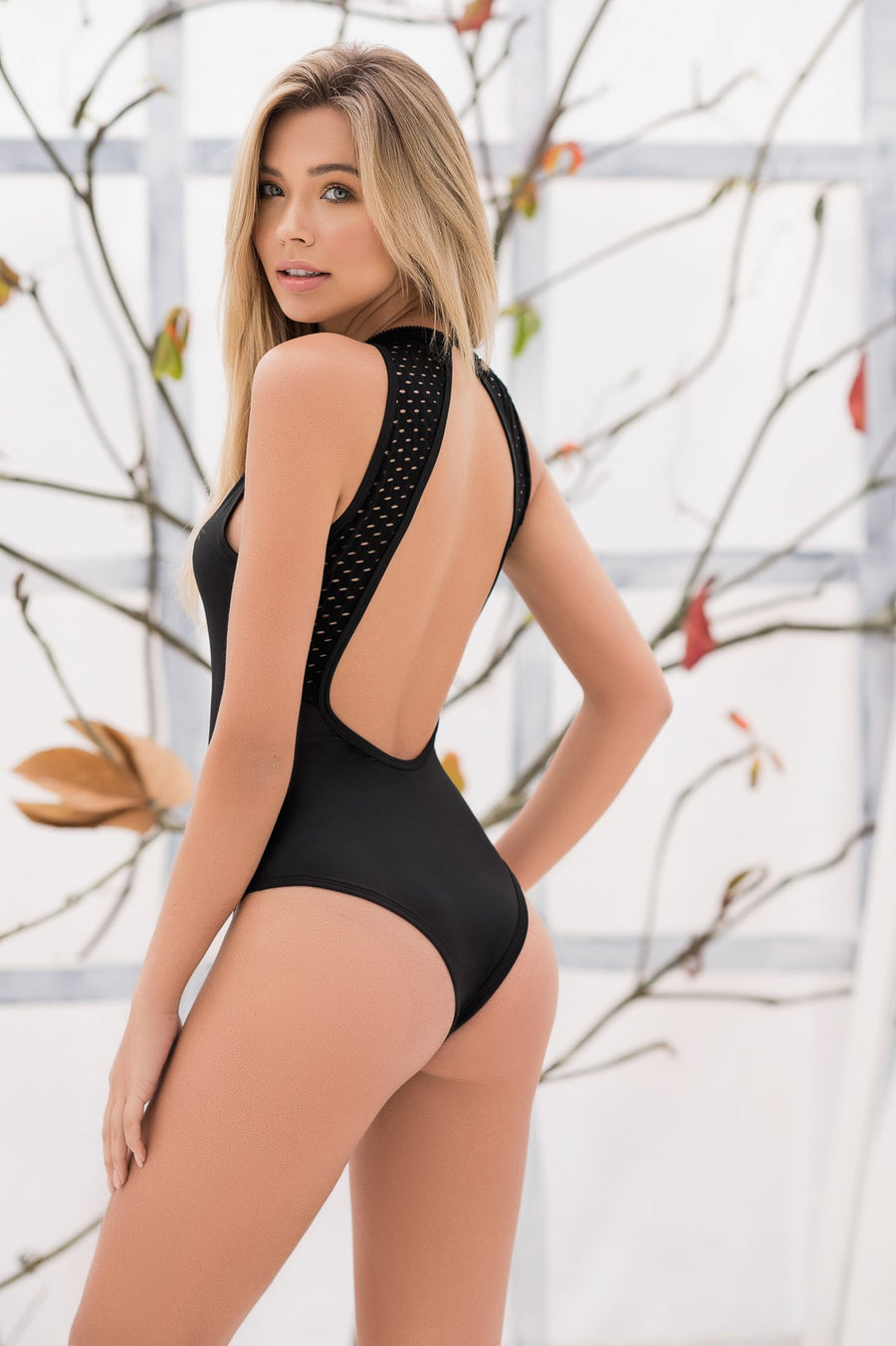 Wet Look Bodysuit In Black