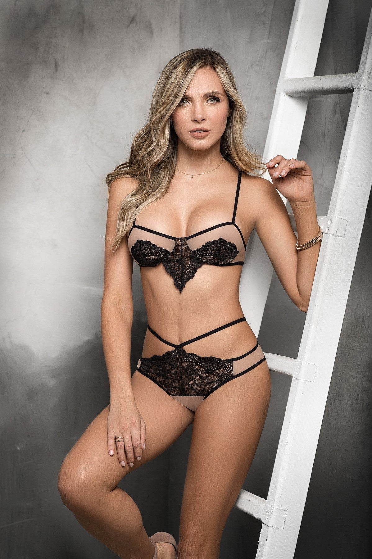 7d708d5a79f5a Nude Strappy Lace Bra Set - Pleasuresexy Lingerie