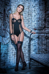 Black Naughty Bodysuit with Garter Straps