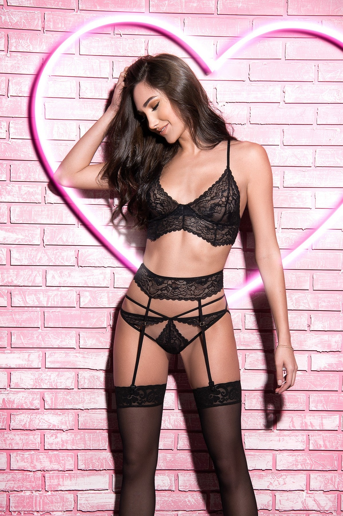 Lace Strappy Bralette Garter Set