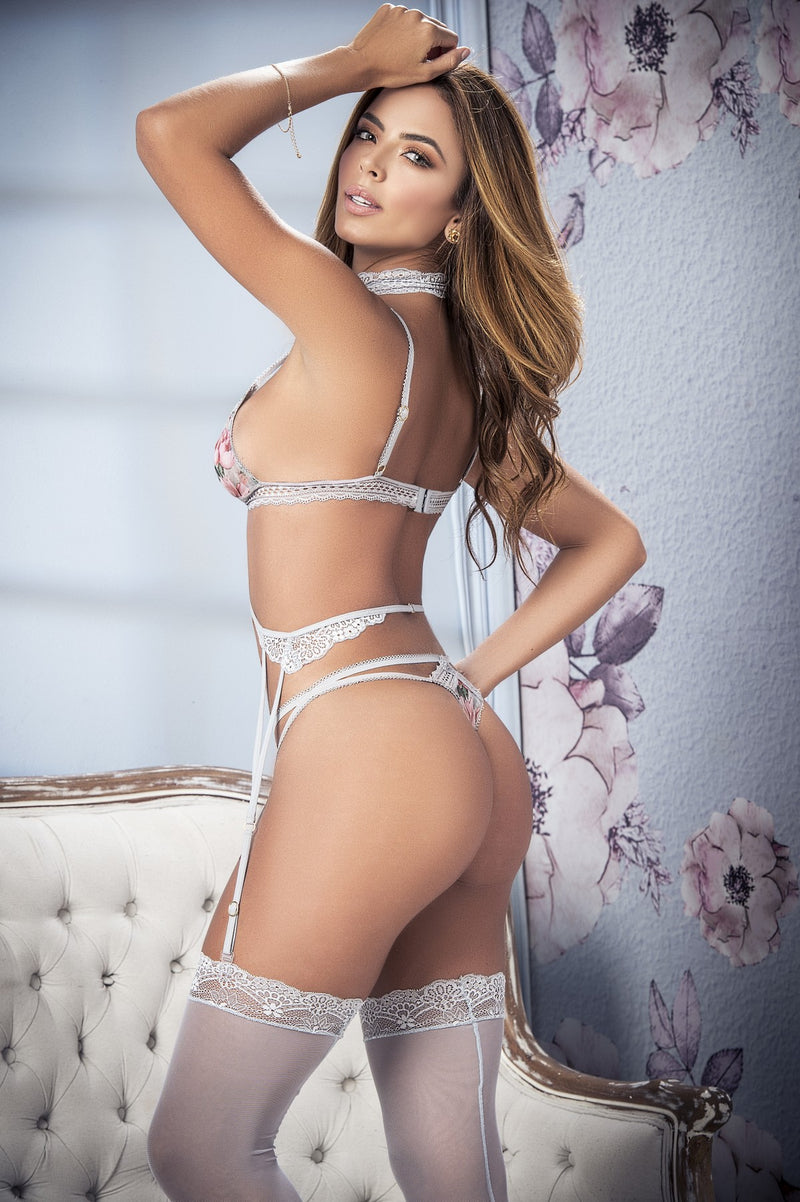 Romantic Floral Three Piece Lingerie Set