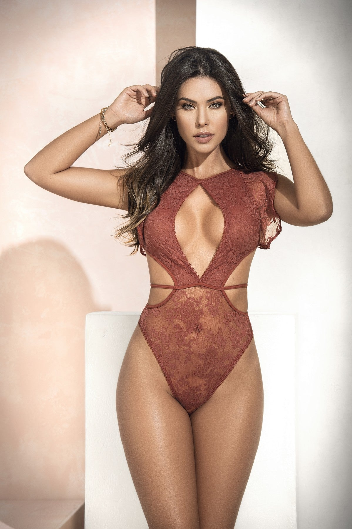 Trendy Sheer Lace Teddy Lingerie