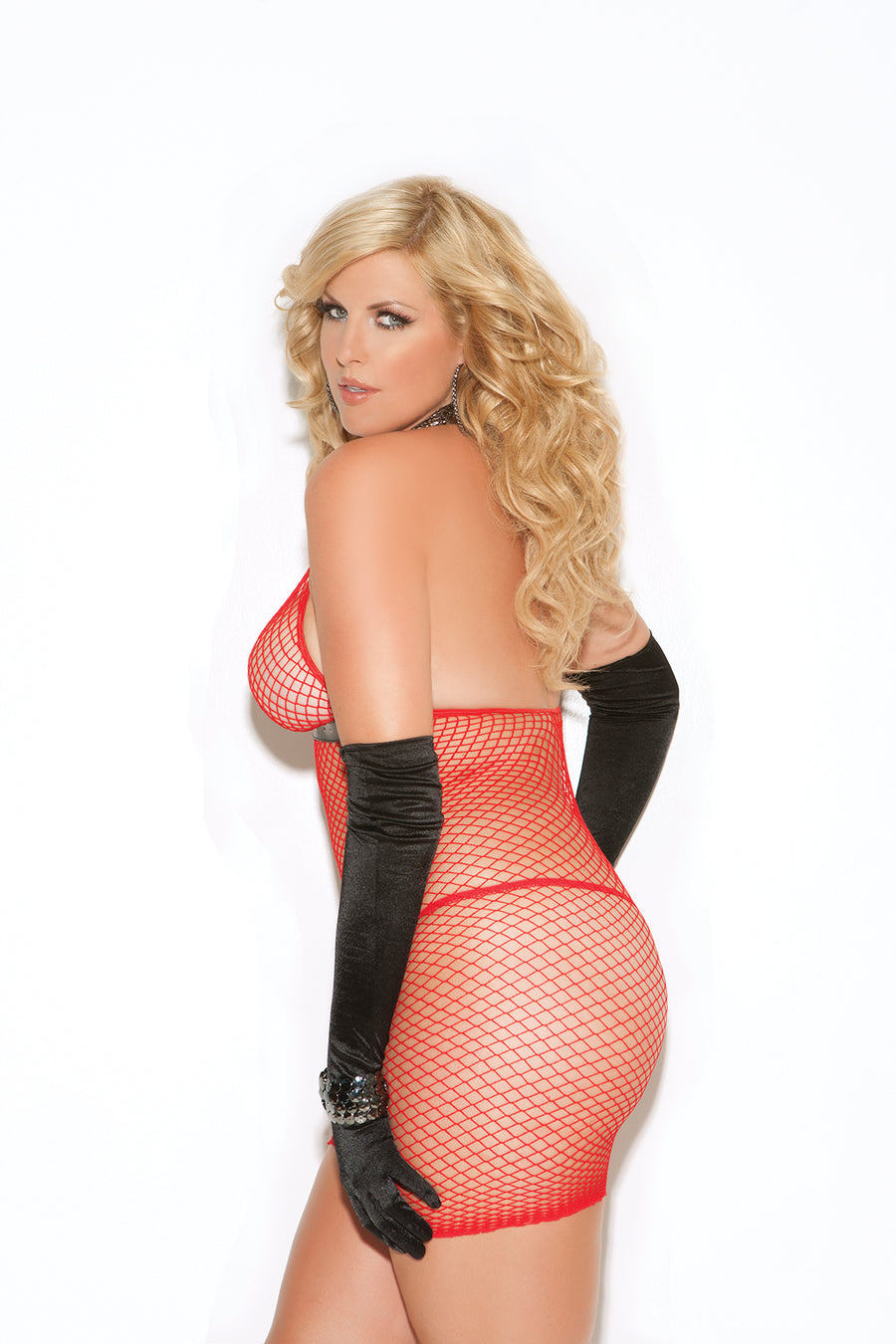 Sexy Plus Size Fishnet Dress Red