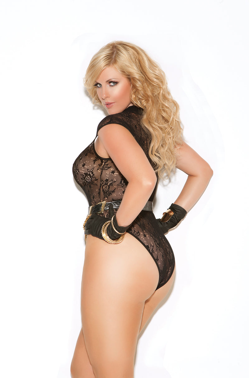 Plus Size Black Lace Bodysuit