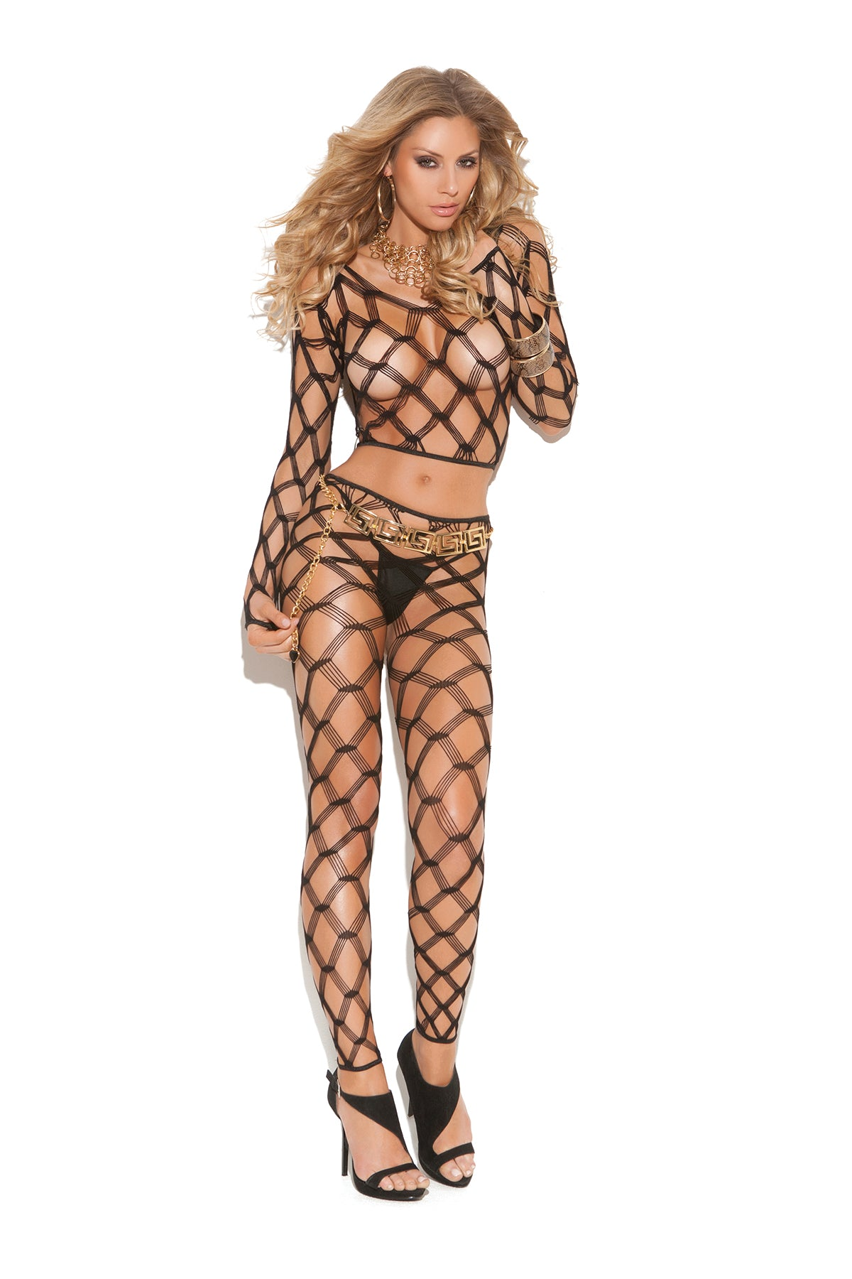 Crotchless Diamond Net Two Piece Bodystocking