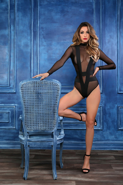 Long Sleeve Sheer Lingerie Bodysuit in Black