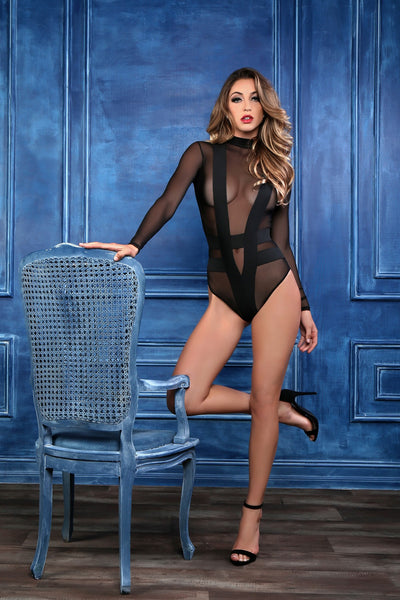 Black Long Sleeve Sheer Lingerie Bodysuit