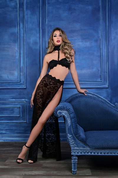 Lustrous Lace Two Piece Set in Black