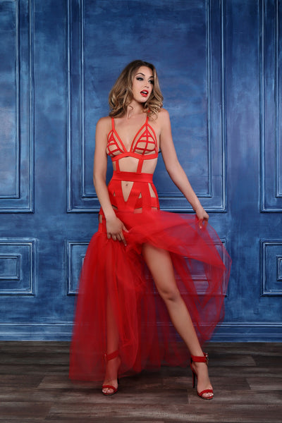 Valentine Mermaid Dress in Red