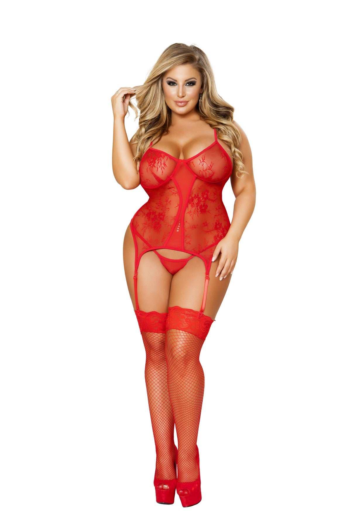 Plus Size Sexy Red Valentine Bustier Set
