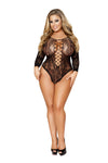 Black Plus Size Crotchless Long-Sleeved Romper Bodystocking