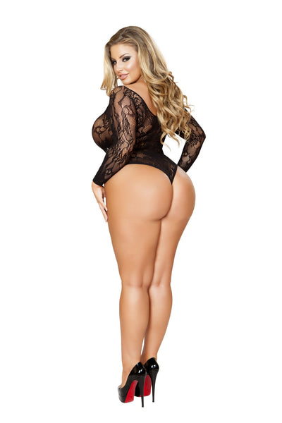 Plus Size Crotchless Long-Sleeved Romper Black Bodystocking
