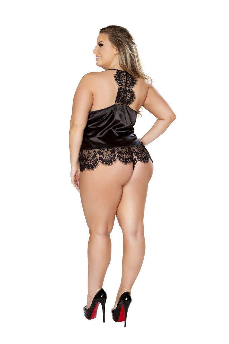 Plus Size Sheer Pajama Set in Black