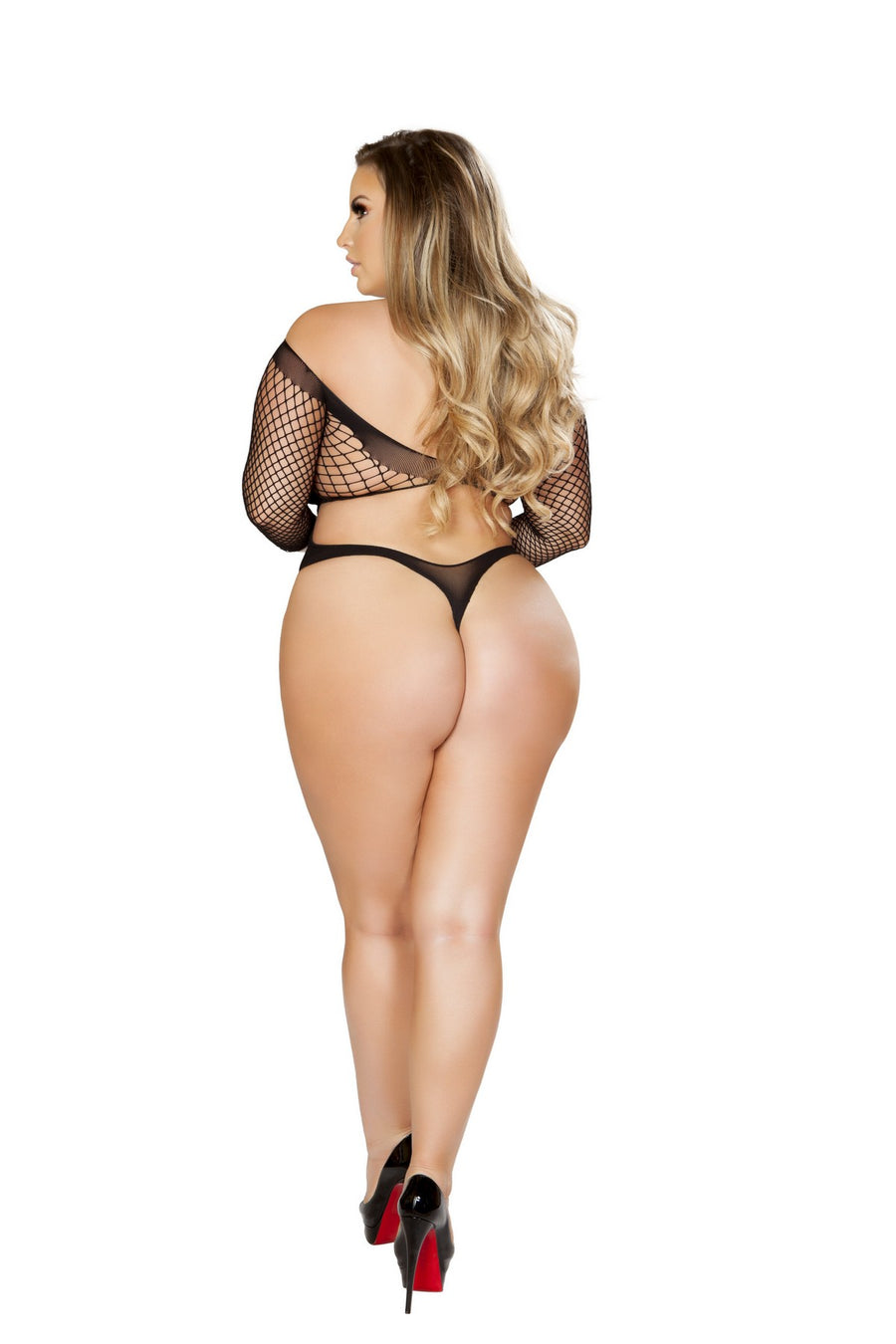Plus Size Crisscross Crotchless Teddy Bodystocking in Black