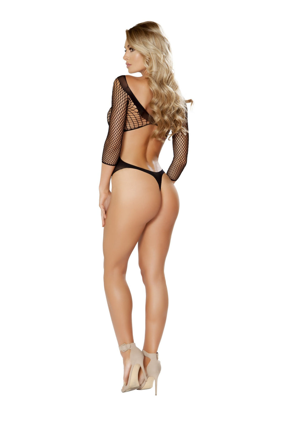 Black Crisscross Crotchless Teddy Bodystocking