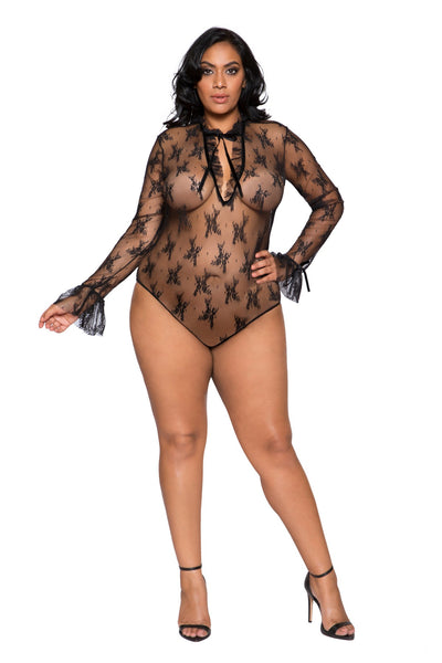 Black Plus Size Elegant Long Sleeve Teddy