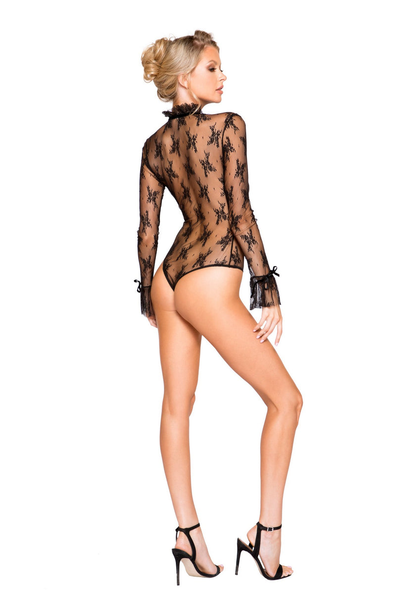 Black Elegant Long Sleeve See Through Teddy