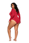 Red Plus Size High Cut Thong Bodysuit