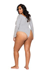 Plus Size High Cut Thong Bodysuit in Grey