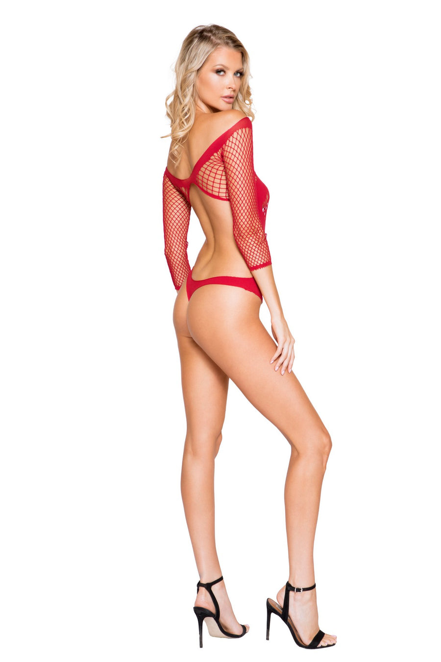 Red Valentine's Day Sexy Crotchless Teddy Lingerie