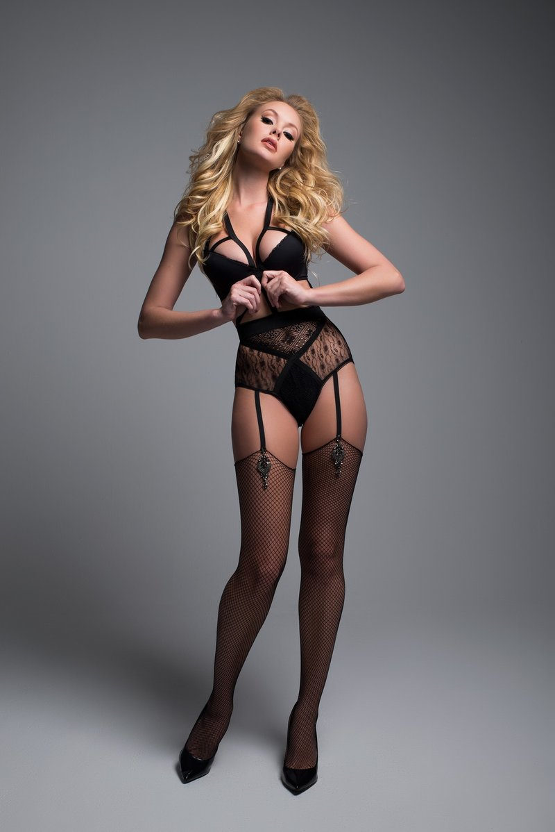 Seductive Lace Gartered Lingerie