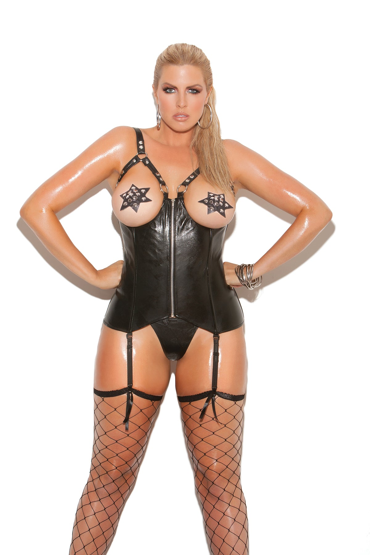 Sexy Plus Size Open Cup Leather Corset