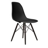 Black Eames Style Molded Plastic Dowel-Leg Dining Side Wood Base Chair (DSW) Black Legs