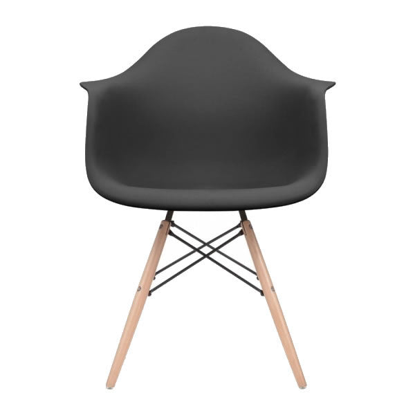 Black Eames Style Molded Plastic Dowel-Leg Dining Arm Wood Base Chair (DAW) Natural Legs