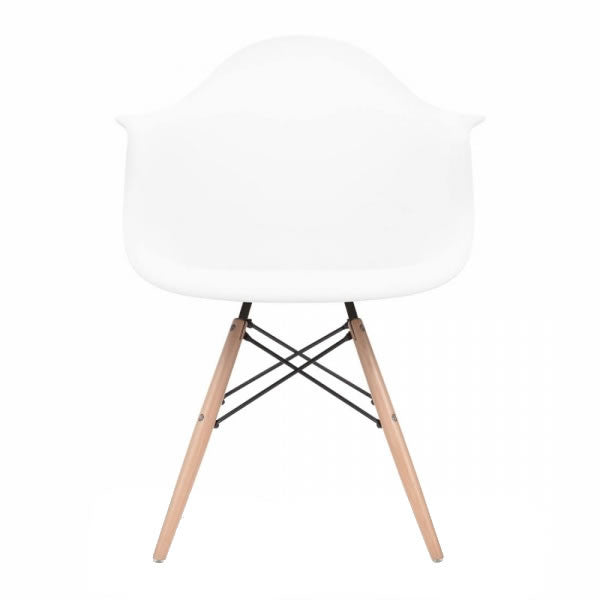 White Eames Style Molded Plastic Dowel-Leg Dining Arm Wood Base Chair (DAW) Natural Legs