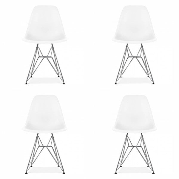 Set of 4 - White Eames Style Molded Plastic Eiffle-Leg Dining Side Metal Base Chair (DSR) Chrome Leg