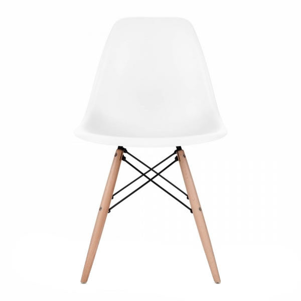 White Eames Style Molded Plastic Dowel-Leg Dining Side Wood Base Chair (DSW) Natural Legs