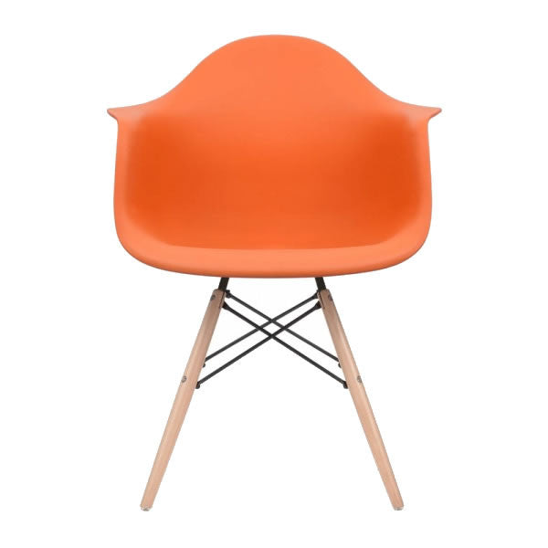 Orange Eames Style Molded Plastic Dowel-Leg Dining Arm Wood Base Chair (DAW) Natural Legs