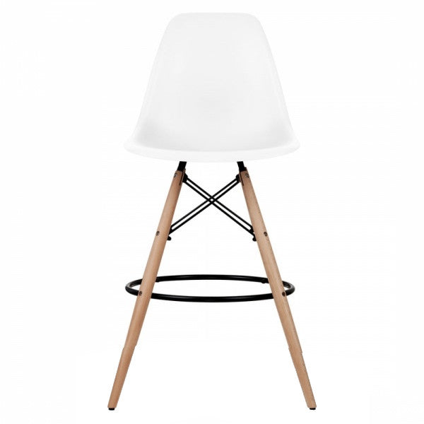 low priced d133c 5be3c Eames Style Molded Plastic Dowel-Leg Counter Stool Wood Base (DSCX) Natural  Legs