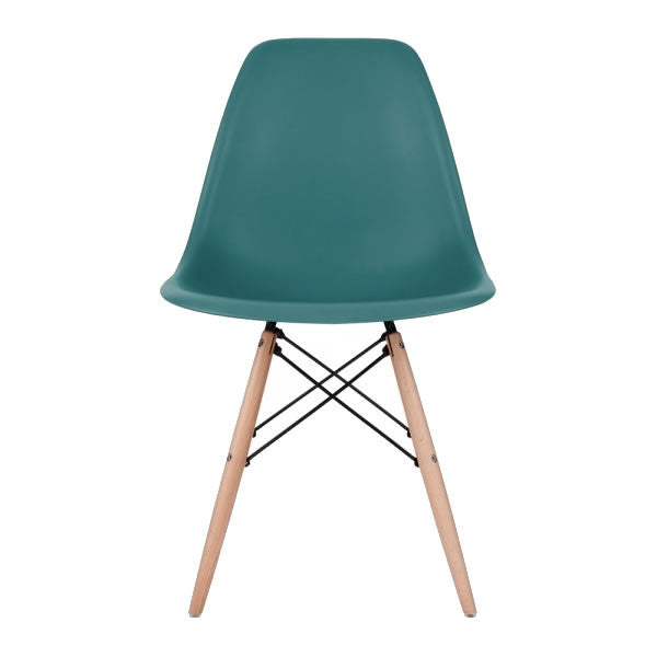 Teal Eames Style Molded Plastic Dowel-Leg Dining Side Wood Base Chair (DSW) Natural Legs