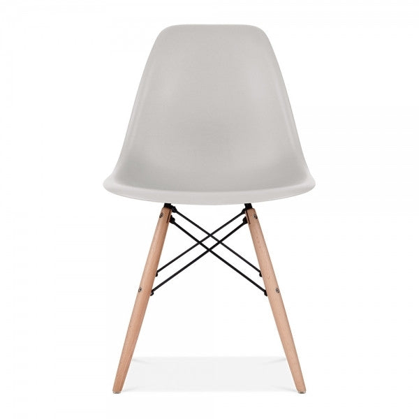 Light Gray Eames Style Molded Plastic Dowel-Leg Dining Side Wood Base Chair (DSW) Natural Legs