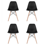 Set of 4 - White Eames Style Molded Plastic Dowel-Leg Dining Side Wood Base Chair (DSW) Natural Legs